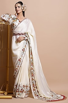 Cream Printed Saree Set With Embroidered Belt by Pallavi Jaipur