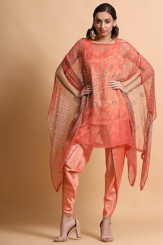 Salmon Pink Printed Cape by Pallavi Jaipur