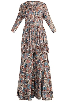Multi Colored Printed Embellished Tunic With Pants & Belt by Pallavi Jaipur