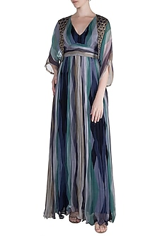 Navy Blue Embellished Printed Maxi Dress With Cropped Cape by Pallavi Jaipur