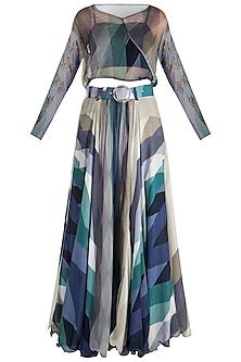 Navy Blue Embellished Printed Skirt With Top, Tube Inner & Belt by Pallavi Jaipur