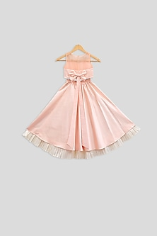 White Embroidered Crop Top With Peach Ruffled Skirt by PWN