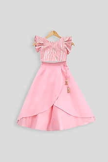 Baby Pink Embroidered Blouse With Layered Skirt by PWN