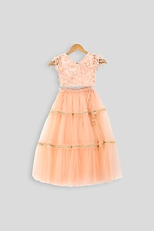 Peach Embroidered Blouse With Layered Skirt by PWN