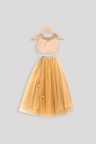 Beige Embroidered Crop Top With Skirt by PWN