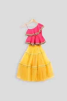 Hot Pink Peplum Blouse With Yellow Skirt by PWN
