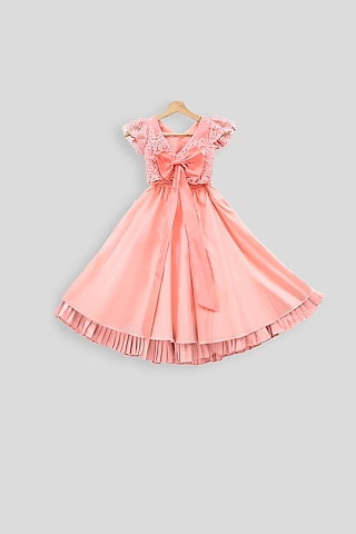 Peach Embroidered Crop Top With Skirt by PWN