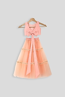 Peach Embroidered Blouse With Skirt by PWN