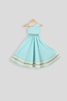 Light Blue Embroidered Blouse With Skirt by PWN