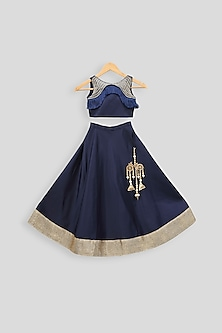 Navy Blue Embroidered Blouse With Skirt by PWN
