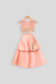 Peach Embroidered Blouse With Balloon Skirt by PWN