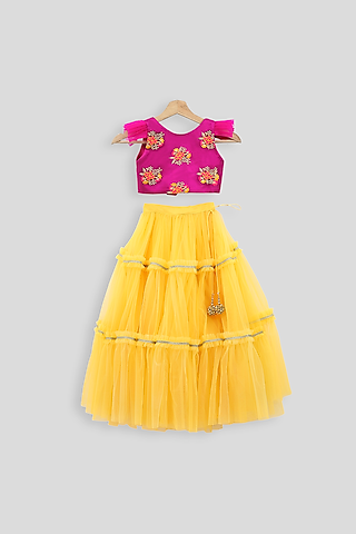 Pink Embroidered Blouse With Yellow Skirt by PWN