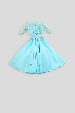 Light Blue Embroidered Blouse With Pleated Skirt by PWN