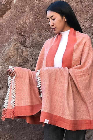 Madder Red Handwoven Pashmina Shawl by Lena Ladakh Pashmina