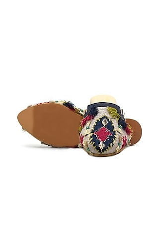 Multi Colored Handcrafted Embroidered Flats by Payal Singhal X PAIO