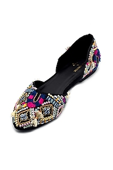 Multi Colored Embroidered Handcrafted Flats by Payal Singhal X PAIO