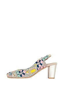 Beige Patterned Block Heels by Paio X Payal Singhal