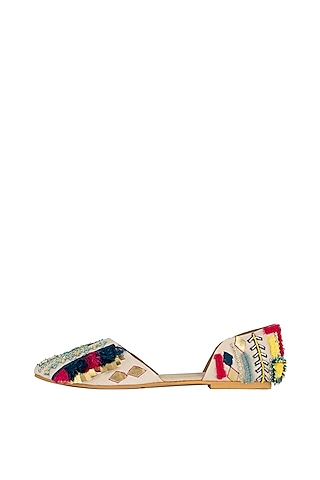Beige Detailed D'orsay Flats by Payal Singhal X PAIO