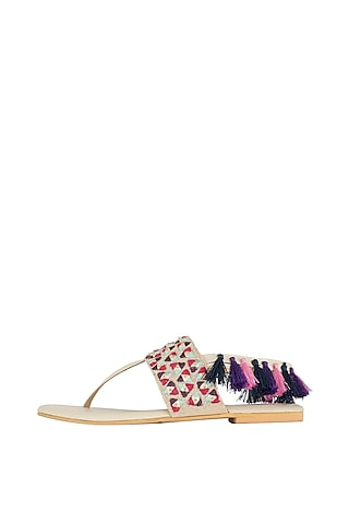 Beige Sequins Detailed Flats by Payal Singhal X PAIO