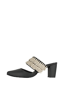 Black Embroidered Block Heels by Payal Singhal X PAIO