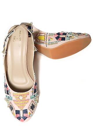 Cream Handcrafted & Embroidered Block Heels by Payal Singhal X Paio