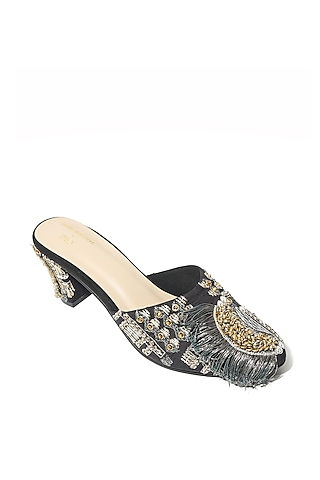 Black Hand Embroidered Block Heels by Payal Singhal X Paio