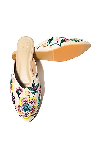 Cream Handcrafted & Embroidered Flats by Payal Singhal X Paio