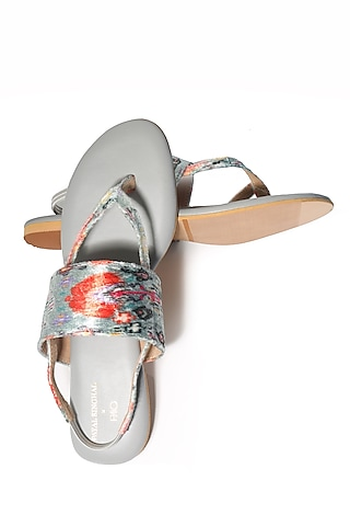 Grey Handcrafted & Embroidered Flats by Payal Singhal X Paio