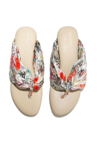 Cream Hand Embroidered Block Heels by Payal Singhal X PAIO