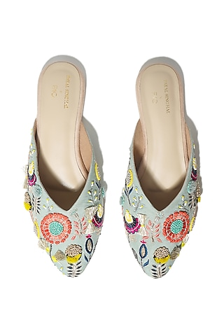 Blue Hand Embroidered Flats by Payal Singhal X PAIO