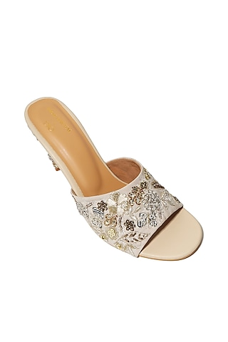 Cream Hand Embroidered Stilettos by Payal Singhal X PAIO