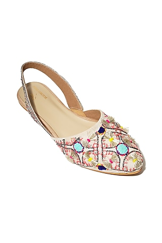 Cream Hand Embroidered Flats by Payal Singhal X PAIO