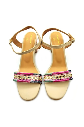 Cream Embroidered Block Heels by Payal Singhal X PAIO