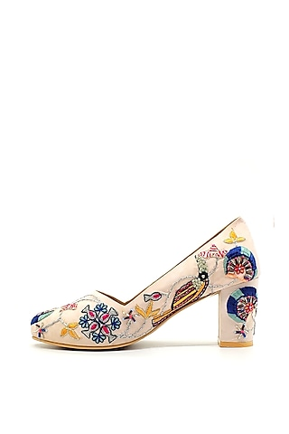 Beige Embroidered Court Heels by Payal Singhal X PAIO