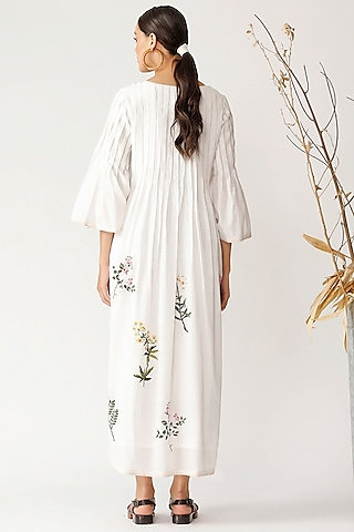 White Embroidered Pleated Dress by Payal Pratap