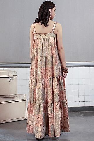 Beige Printed Maxi Dress by Payal Pratap