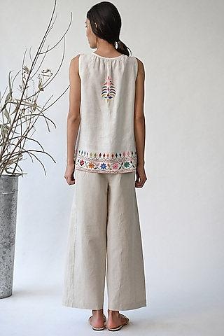 White Embroidered Top by Umbar by Payal Pratap