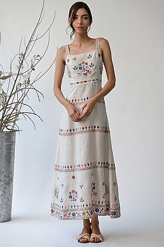 Beige Embroidered Dress by Umbar by Payal Pratap