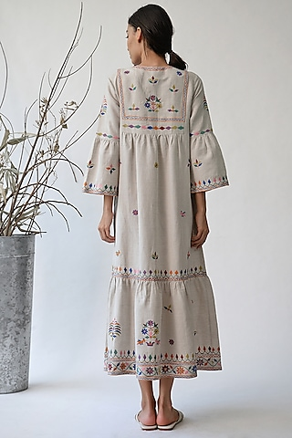 Beige Embroidered Maxi Dress by Umbar by Payal Pratap