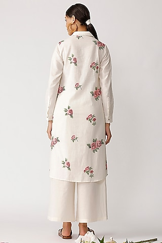 White Rose Embroidered Tunic by Umbar by Payal Pratap