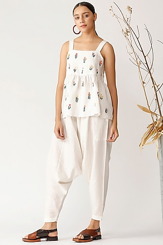 White Embroidered Cami Top by Payal Pratap