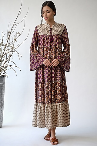 Maroon Printed Maxi Dress by Payal Pratap