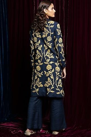 Blue Embroidered Jacket Kurta by Payal Pratap