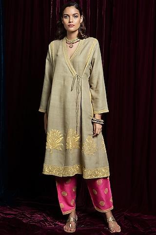 Beige Embroidered Kurta With Pink Pants by Payal Pratap