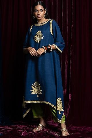 Navy Blue Embroidered Kurta With Green Pants by Payal Pratap