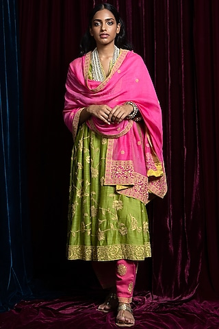 Green & Fuschia Embroidered Kurta Set by Payal Pratap