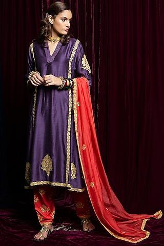 Purple & Red Embroidered Kurta Set by Payal Pratap