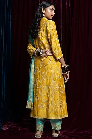 Yellow & Sky Blue Embroidered Kurta Set by Payal Pratap