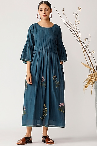 Teal Blue Embroidered Dress by Payal Pratap