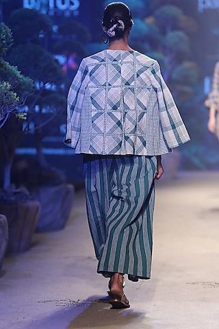 Green Striped Jumpsuit With Belt by Payal Pratap